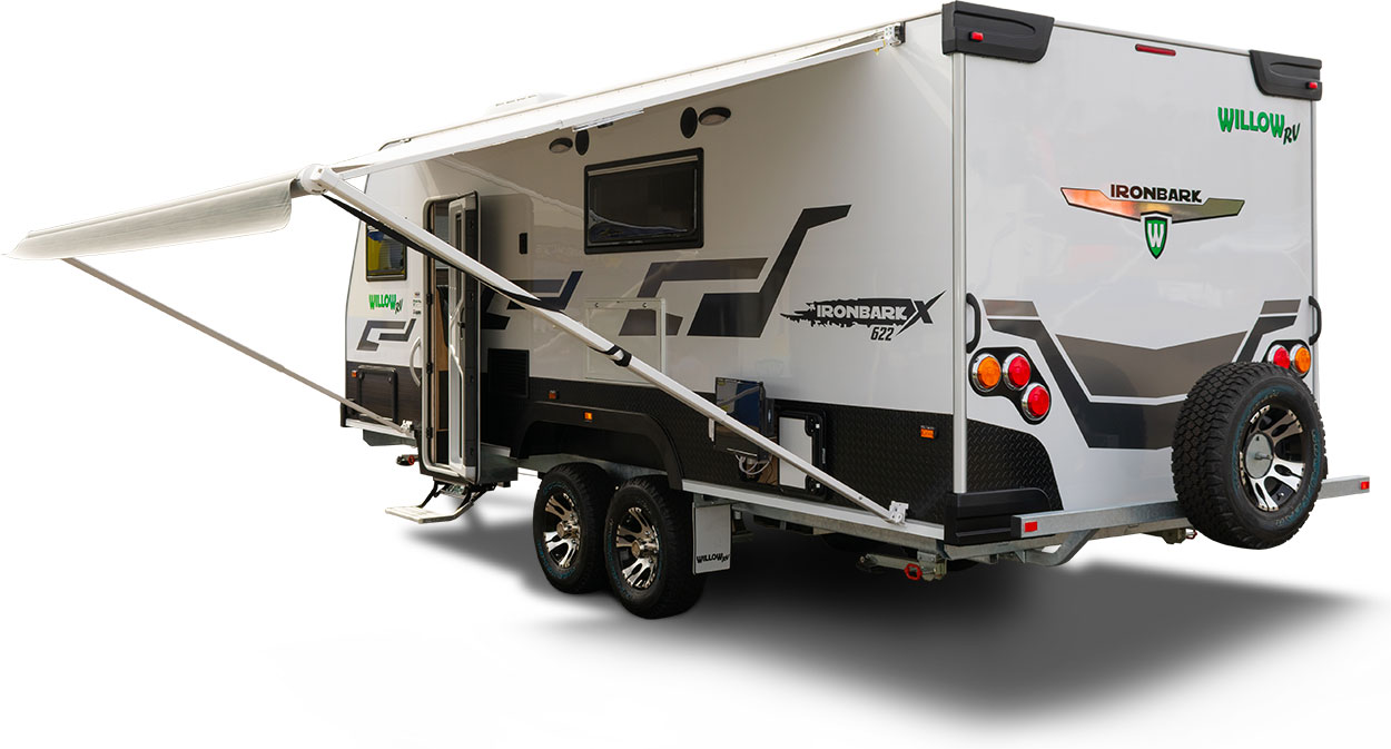 New Caravans from Willow RV the Ironbark 622 Rear View with Awning